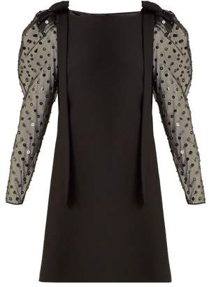 Valentino - Boat Neck Sequin And Bead Embellished Mini Dress - Womens - Black Multi