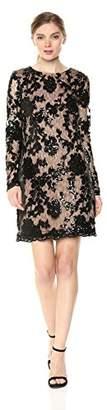Dress the Population Women's Grace Long Sleeve Sequin Lace Mini Black