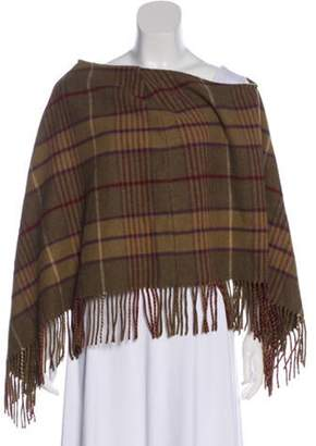 Burberry Wool Fringe-Trimmed Poncho Brown Wool Fringe-Trimmed Poncho