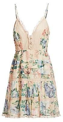 Zimmermann Women's Verity Sleeveless Scalloped Floral Mini Dress