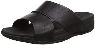 FitFlop Men's Bando Leather Slides Open-Toe Sandals, (Black), 44 EU