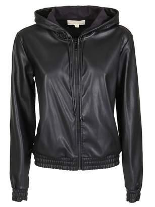 MICHAEL Michael Kors Hooded Zipped Leather Jacket