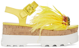 Yellow Feather Compact Sole Sandals