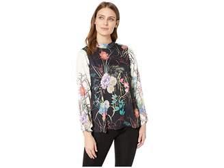 Hale Bob Florals Take Flight Rayon Stretch Satin Woven Lorena Top Women's Clothing