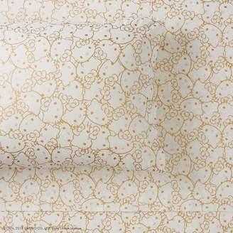 Pottery Barn Teen Hello Kitty Metallic Sheet Set, Extra Pillowcases, Set of 2, Gold