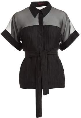 WtR - WtR Black Linen & Silk Short Sleeve Mesh Shirt