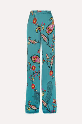 Etro Printed Satin-twill Wide-leg Pants - Blue