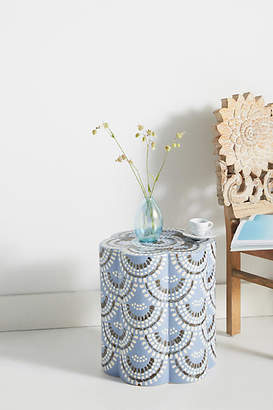 Anthropologie Scalloped Ceramic Side Table