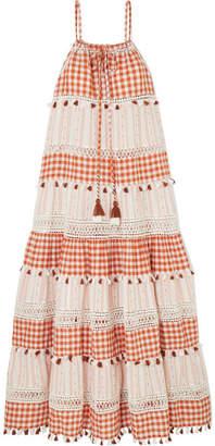 Dodo Bar Or Tasseled Cotton-jacquard And Poplin Maxi Dress - Orange