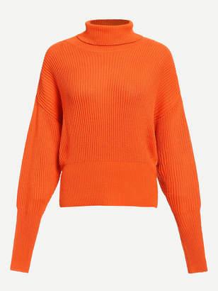 Shein Neon Orange High Neck Gigot Sleeve Jumper