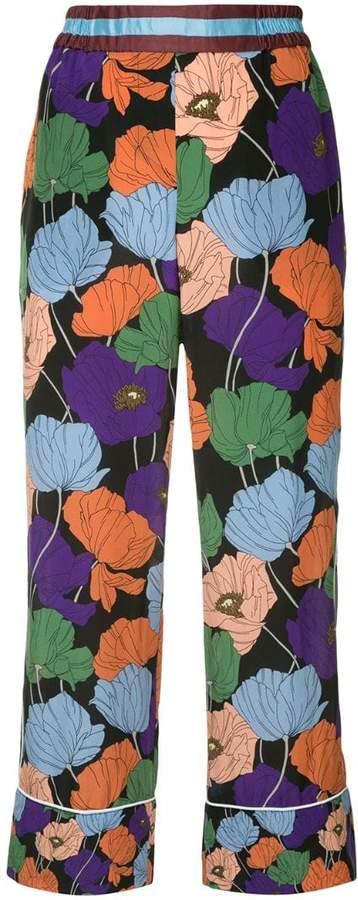 colourblock floral trousers