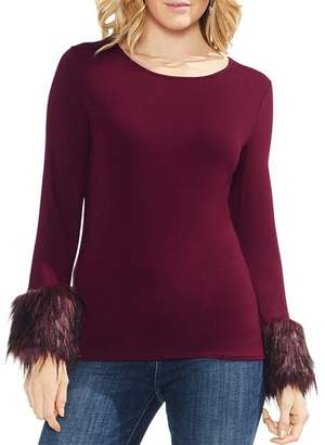 Vince Camuto Faux-Fur Cuff Top