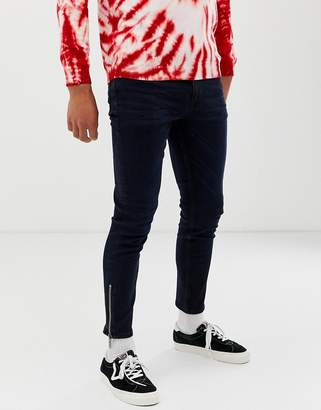 Asos Design DESIGN skinny jeans in raw blue 'two-piece' with ankle zips
