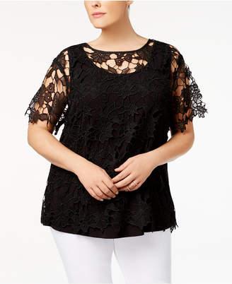 Love Scarlett Plus Size Lace-Overlay Illusion Top