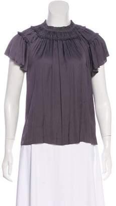 Ulla Johnson Pleated Short Sleeve Blouse