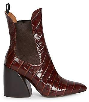 Chloé Women's Wave Croc-Embossed Leather Chelsea Boots