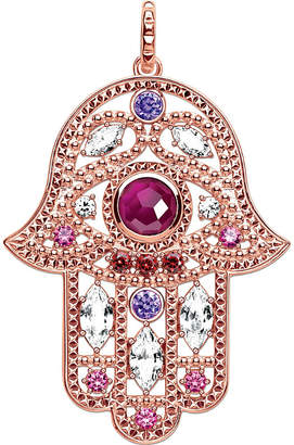 Thomas Sabo Hand of Fatima 18ct rose gold-plated and zirconia pendant, violet