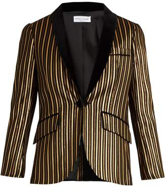Sonia Rykiel Velvet-lapel lamé striped cotton-blend jacket
