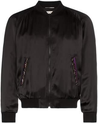 Saint Laurent Officier logo embellished bomber jacket