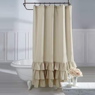 Rosdorf Park Stephania Vintage Ruffle Linen Shower Curtain