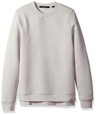 Scotch & Soda Men's Classic Sweat with Cross Over Neckline and Uneven Bottom Hem