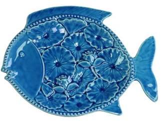 URBAN TRENDS COLLECTION Urban Trends Collection: Ceramic Fish Platter, Gloss Finish, Blue