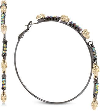 Betsey Johnson Two-Tone Crystal & Skull Hoop Earrings