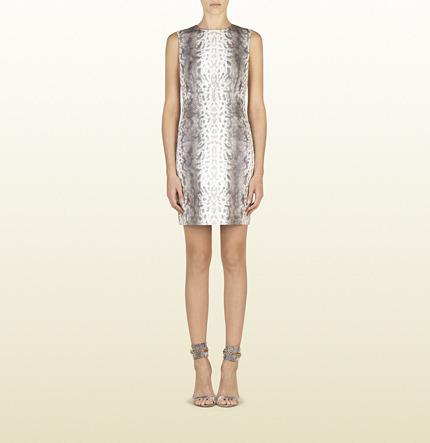 Gucci Grey Animalier Karung Motif Printed Leather Dress