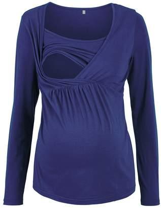 OUYAWEI Long-Sleeve Pregnant Nursing T-Shirt Comfortable Tops Pajamas