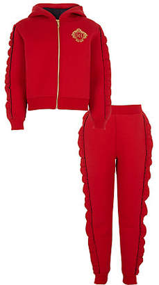 River Island Girls red rhinestone frill hoodie outfit