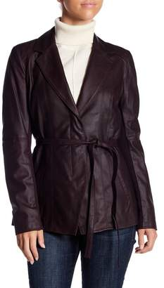 Andrew Marc Farley Belted Leather Jacket