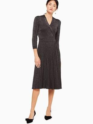 Kate Spade Metallic Wrap Sweater Dress, Black - Size M