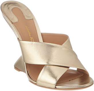 878f50cd5 Salvatore Ferragamo F Leather Wedge Sandal