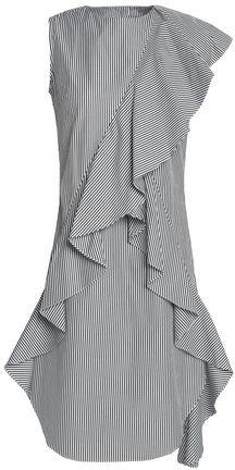 Goen.j Ruffled Striped Cotton-Poplin Dress