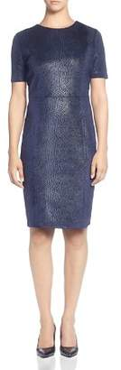 T Tahari Metallic Snake Print Sheath Dress