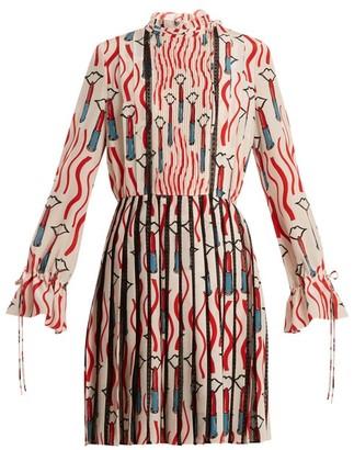 Valentino - Lipstick Print Lace Trimmed Silk Dress - Womens - White Print