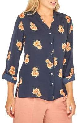 Dorothy Perkins Julia Floral Roll-Sleeve Shirt