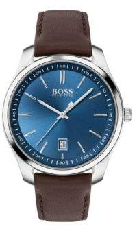 BOSS Leather-strap watch with blue dial