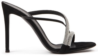 Giuseppe Zanotti Croisette Crystal Black Leather Sandals