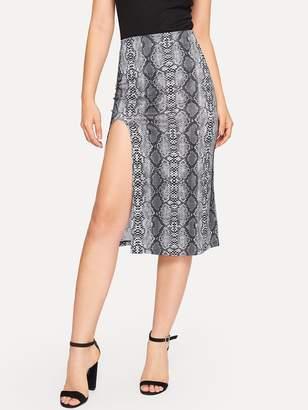 63687ecfbe Shein Split Hem Snakeskin Skirt