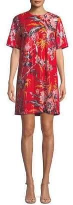 Diane von Furstenberg Sequined Floral-Print Short-Sleeve Shift Dress