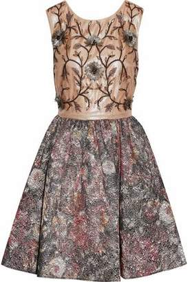 Marchesa Embellished Tulle And Metallic Jacquard Mini Dress