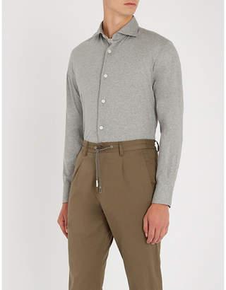 Eleventy Cut-away collar cotton-jersey shirt