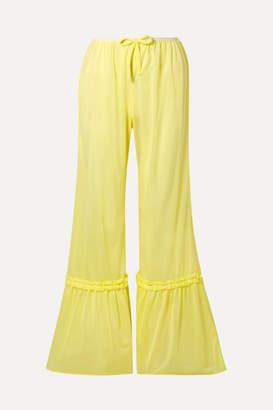 7d2732af6f4a Miu Miu Ruffled Satin-jersey Flared Pants - Pastel yellow