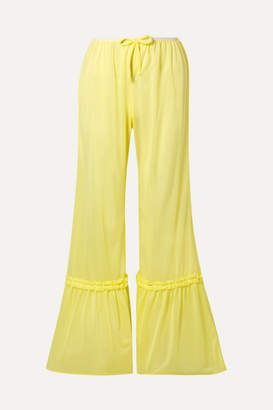 Miu Miu Ruffled Satin-jersey Flared Pants - Pastel yellow