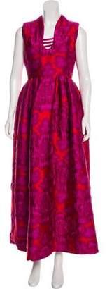 Alexander McQueen Jacquard Scoop Neck Gown