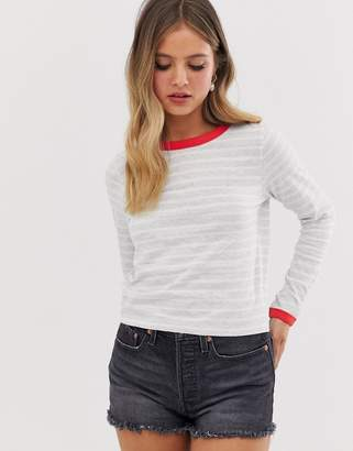 Brave Soul eloise long sleeve t shirt in stripe with contrast rib