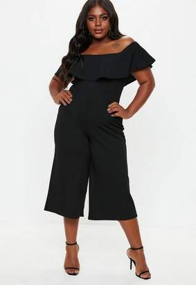 Missguided Plus Size Black Bardot Culotte Romper