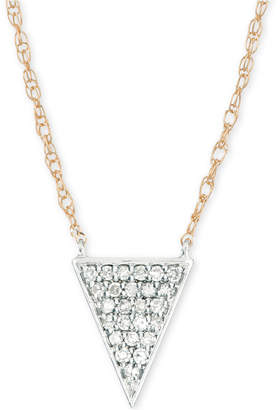"Elsie May Diamond Pave Triangle Pendant Necklace (1/10 ct. t.w.) in 14k Gold & Sterling Silver, 17"" + 1"" extender"
