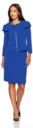 Tahari by Arthur S. Levine Women's Petite Size Crepe Skirt Suit with Shawl Collar